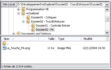 Zone qui développe le contenu du disque dur